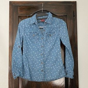Denim polka dotted button up shirt size L (10)